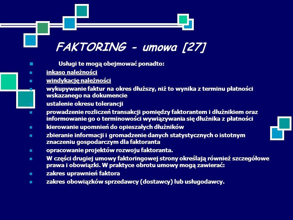 FAKTORING - umowa [27] Usługi te mogą obejmować ponadto:
